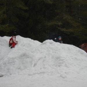 Barnen roade sig med lite snöbollskrig. Inga älgar eller sparkstöttingar kom till skada under drabbningen !